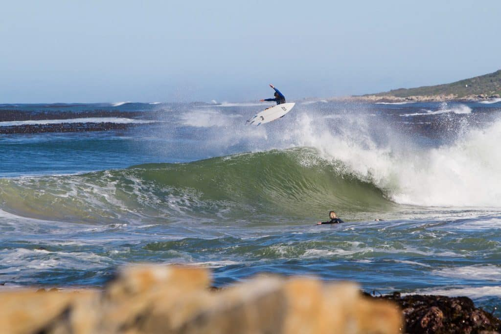 Surfer catching a wave in South Africa.